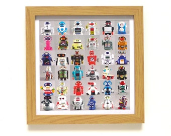 Robots | Robot Art Print | Framed Print | Collections Picture | Square Photographic Print | Vintage Toys | Cyber Toy | Boy's Retro Gift