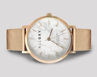 Rose Gold Mesh White Marble Watch - Perfect Gift - Marble Watch - Rose Gold Watch - White Marble - Watch
