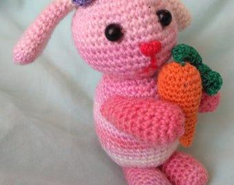 Amigurumi Bunny, Crocheted Bunny doll, Pink Bunny Rabbit with orange carrot