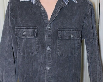 Vintage 1980's Heavy Men's Corduroy Shirt w/Denim Collar Made by On The Brink