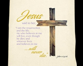 Jesus and Cross Easter Flour Sack Towel