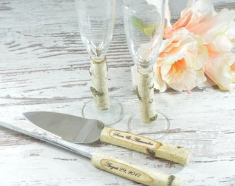 Rustic Wedding Set Toasting Glasses Cake Serving Set Country Wedding Set Flutes Cake Server champagne glasses Cake Knife