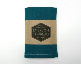 Teal Linen Pocket Square / Summer Wedding Groomsmen Blue Green Handkercheif Cyan Aqua Turquoise Hanky Gift for Him Natural Matching Tie Set