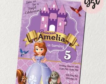 Sofia la primera invitación sofia, Princesa Sofía, cumpleaños de Sofía, partido Sofía, fiesta de cumpleaños, invitación princesa, invitan a Sofía, princesa