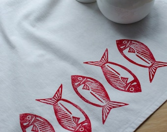 Red Fish Block Printed Tea Towel - White, cabin, cottage, fishing tea towel