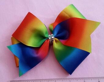 Fashion bow, rainbow bow, rainbow clip, big bow