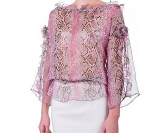 Silk georgette blouse, handmade PIECE size (it 42 - eu 38 - uk 10 - us 6) PROMOTIONAL PRICE
