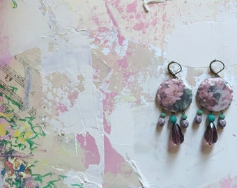 Earrings with cabochon in fabric