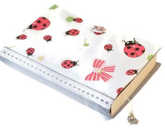 Fabric Book Cover, Book Cover, Textile Book Cover,  Paperback book cover, Book Accessories, Bible Cover, Ladybug Cover, Book Protector