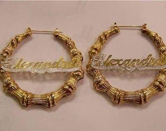 Bamboo Name Plate Earrings