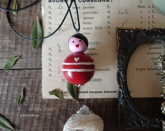 Handmade necklace with wooden pendant