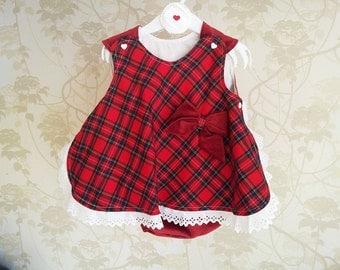 Vestido-fofo xadrez vermelho. 3-6 e 6-12 meses. Com forro de algodão cardado. 100% algodão
