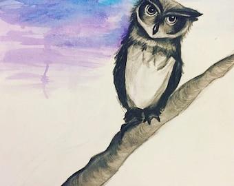 Owl Watercolor Original Painting Kids Room