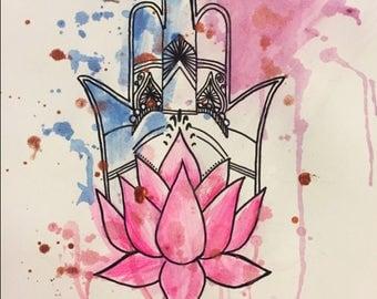 Hamsa Lotus Flower Watercolor Paint Design