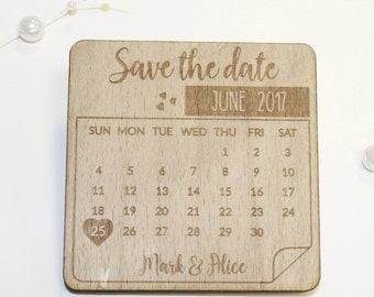 Personalised Save The Dates Magnet, Wooden Calendar Save The Date Fridge Magnets