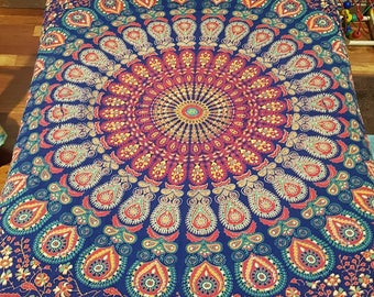 Mandala Navy Earthy tones Single bed or Double bed Topper Quilt, Hand Quilting