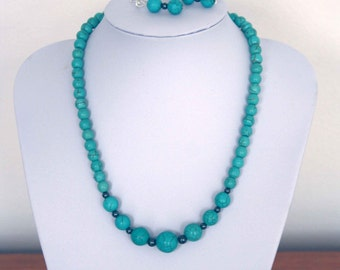 Necklace and earrings of Turquoise and Hematite