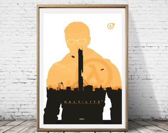 Half Life 2 Gordon Freeman Characcter Minimalist Artwork Alternative Gaming Game Print Poster Art Deco Wall Decor Decoration Graphic Design