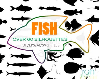 Fish Svg File, Fish Silhouette, Fish Clipart, Fish Drawing, Sea Creatures, Marine Life, Crab Svg, Octopus Svg, Ocean Svg, Ocean Clipart