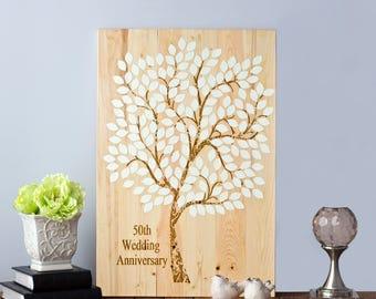 Anniversary Guest Book Tree, Guest book Tree, Gold Anniversary Guest Book, Wood Wedding Guest Book,  Guest Book Alternative