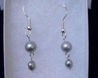 Sterling Silver Dove Gray Pearl Double Dangle Earrings