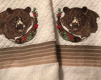Embroidered Bear Kitchen Towels (set of 2).