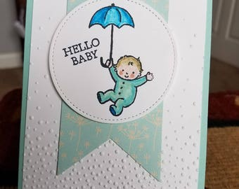 Handmade Hello Baby Card and Envelope