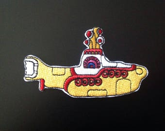 """3"""" The Beatles yellow submarine rock logo embroidered iron on patch"""