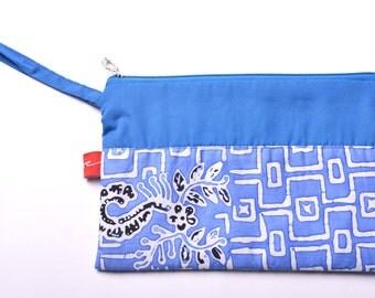 Batik Banyuwangi Blue Pouch (White Square)