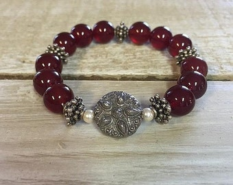 Crimson Red and Pearl Beaded Bracelet