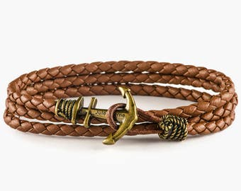 Brass Anchor bracelet, Brown leather anchor bracelet, mens bracelet, mens anchor bracelet,boyfried gift,bracelet homme, nautical bracelet