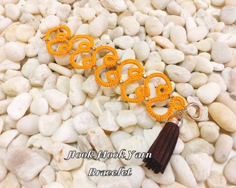 Hot Price! Yellow Tatting Bracelet with leather tassel