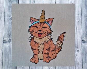 Embroidery File Unicorn Cat 13x18