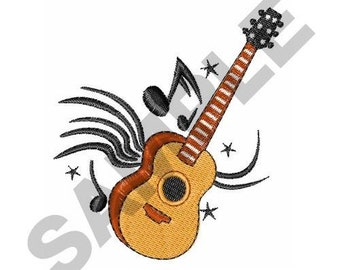 Acoustic Guitar Music - Machine Embroidery Design