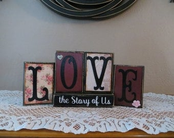 Love Wood Blocks Wedding Gift Home Decor Anniversary Gift Valentines Gift Mother's Day