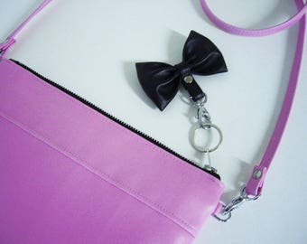 Clutch shoulder bag mini bag cross body multi color candy Rosé black bow