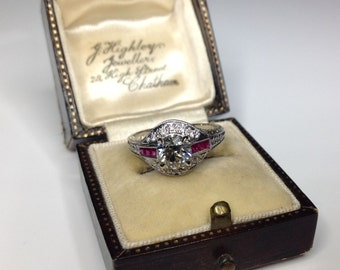 Estate Antique 18K White Gold 1.24 CTW Old Euro Diamond & Ruby Engagement Ring