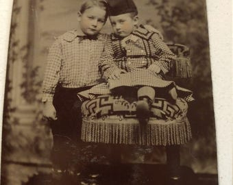 Sibling Love:  Antique Tintype Photograph of Two Young Children