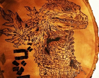 Godzilla Wood burned wall plaque