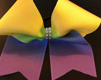 Rainbow Ombre Cheer Bow
