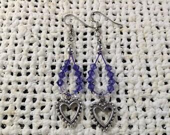 Blue crystal  heart earrings