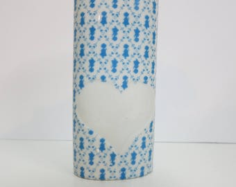 Holly Hobbie Porcelain Vase, White and Blue Collectible 1980 Holly Hobbie Vase or Pencil Holder with Heart and Holly Hobbie Silouettes -V123