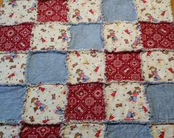 Quilted Rag Quilt Throw - Handmade Cotton Flannel Cowboy Bear, Red and Blue Quilted Rag Crib Throw