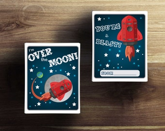 """Rocket """"Over the Moon"""" Printable Valentine's Cards"""