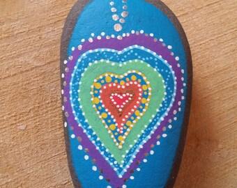 Chakra Painted Heart Stone/Meditation Aid/Reiki/Love/Throat Chakra