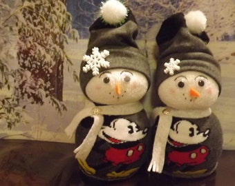 Vintage Mickey Mouse Mom-Pop Snow Couple!