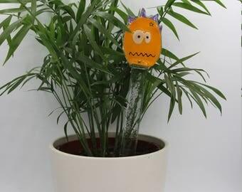 Decoration of plants - Monster orange or green - fused glass - interior decoration - garden