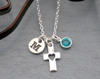Cross Heart Necklace, Personalized Cross Necklace, Cross Initial Necklace, First Communion Necklace, Confirmation Gifts, Adult Baptism Gifts