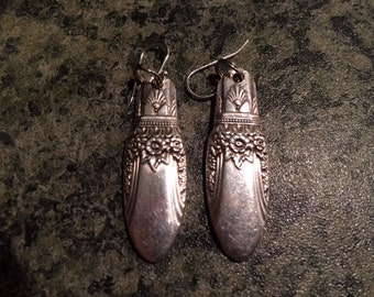 "Antique Silver Plate Spoon Earrings - Rogers ""First Love"" 1937"