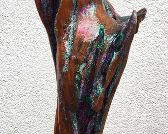 Hand Made Twisted Wood Sculpture Embellished with Glitter